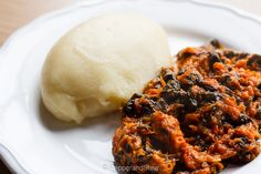 Kentumere - Ghanaian smoked mackerel and spinach stew with cassava and plantain fufu.