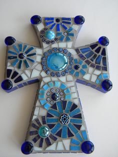 Cobalt and Teal Mosaic Cross by TheMosartStudio on Etsy