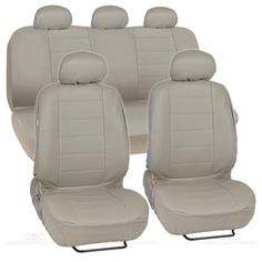 PU Synthetic Leather Beige Car Seat Cover Genuine Feel Front Rear Set