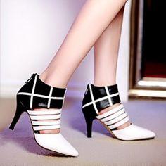 Shoespie Cut-outs Back Zipper Pointed-toe Stiletto Heels