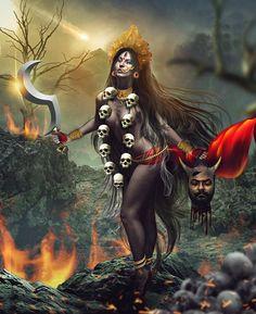 The Church of the Third Eye of Jesus: Photo Kali Goddess, Mother Goddess, Goddess Art, Caricatures, Backpiece Tattoo, Hanuman Chalisa, Krishna, Kali Mata, Geniale Tattoos