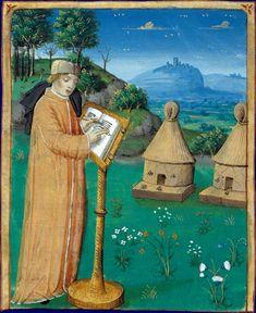 Virgil observing bees. Œuvres avec les commentaires de Servius, Paris, 15th c.