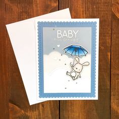 Cute Handmade Baby Shower Card, Up and Away Mama Elephant Stamps, #BabyCard, #BabyShowerCard,