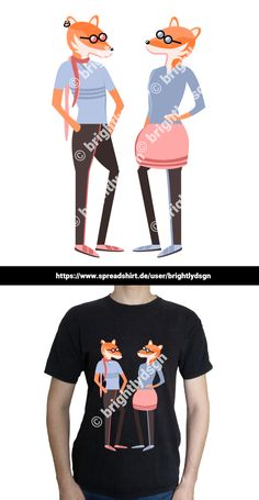 Get this illustrated hipster fox friends design on various shirts, hoodies and other accessories - for kids, women and men! Shirt Designs, Trends, Animal Fashion, Pullover, Typography Prints, Fashion Accessories, Cute Animals, Fox, Hipster