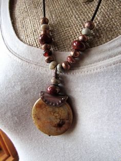 Caramel Jasper Focal Pendant with Agate Mix Beads Strung on