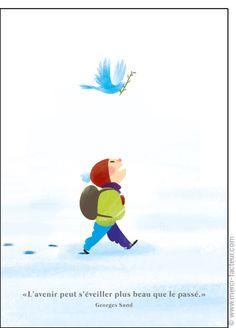 Cette carte vous plait ? Profitez-en tant qu'il est encore temps de souhaiter une bonne année 2017 à vos amis avec une jolie #carte envoyée par La Poste en quelques clics ! #voeux #BonneAnnée #voeux2017 #amour #love #paix #peace #paz  Carte Avenir plus beau que le pass� pour envoyer par La Poste, sur Merci-Facteur ! Peace And Love, Tweety, Good Morning, Fictional Characters, Compassion, Messages, Illustrations, Photos, Greeting Cards