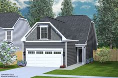 """House Plan 1481-C CLARENDON Elevation """"C"""". Two-story plan designed for very narrow lots at only 24 feet wide.Open living space with Master Suite on first floor. Loft space and two bedrooms upstairs plus a large Bonus Room."""