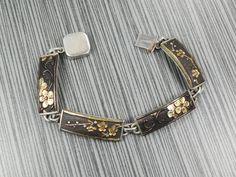 Antique Japanese Shakudo Sterling Silver Panel Bracelet Japanese Bracelet Silver Golden Black Bracelet Cherry Blossom Flowers by BelmarJewelers on Etsy