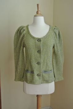 ANTHROPOLOGIE Moth Neon Yellow Silver Metallic Puff Shoulders Cardigan M in Clothing, Shoes & Accessories, Women's Clothing, Sweaters | eBay