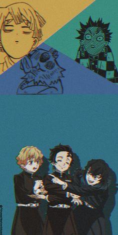 Zenitsu x Tanjiro x Inosuke • demon slayer wallpaper