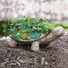 Stone turtle planter