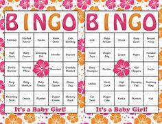 60 Baby Shower Bingo Cards - DIY Printable Party for Baby Girl - Instant Download - Pink Orange Hawaiian Hibiscus Luau Baby Bingo  G028