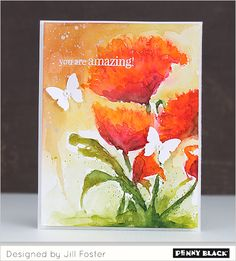 Stamp #40-330 - Pop Pop Poppy Tombow markers then filled in with water colors