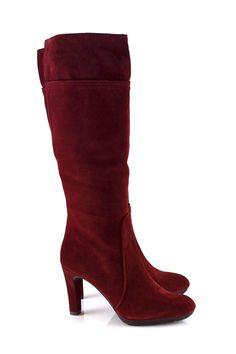 Dark red suede boots