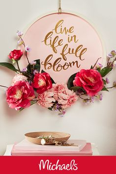 2b445641f1 This spring wreath will brighten your day with a motivational message and a  carefree floral statement