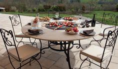Table ronde barbecue Mirage en fer forgé et pierre Tella