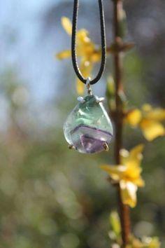 flourite and fine silver pendant