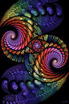 Just had to share this gorgeous fractal borrowed from Gerda 1946 (DeviantART). The colors and patterns are mesmerizing