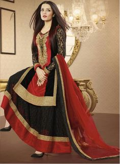 Black And Red Net Pakistani Suit