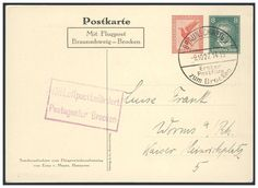 Germany, German Empire, Flugpost 09.10.1927, Erster Postflug Braunschweig-Brocken, GA-Privatpostkarte, geflogen (Mi.-Nr.PP 92C1/01). Price Estimate (8/2016): 20 EUR. Unsold.