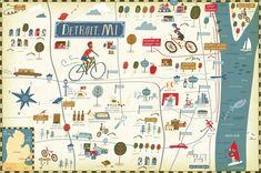 Bicycle Times Magazine. Detroit illustrated map by Nate Padavick (www.idrawmaps.com)