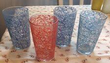 SET of 4 VINTAGE 1950s DRINKING GLASS TUMBLERS SPAGHETTI STRING DESIGN
