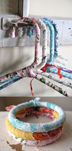 Fabric covered hangers & bracelets.Idee om over lelijke plastic hangers te doen.