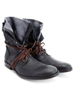 Navy blue Fluevog's. Perfect for that post-apocalyptic hipster look. Pair with blue jeans.