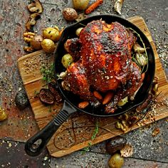 Balsamic-Fig Barbeque Cornish Game Hen with Rustic Roasted Vegetables and Herbs.