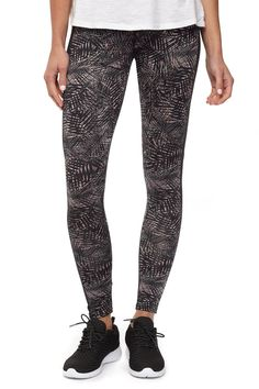 Black palm leaves print running legging
