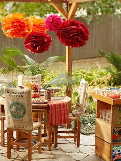love the burlap sacks over the chairs