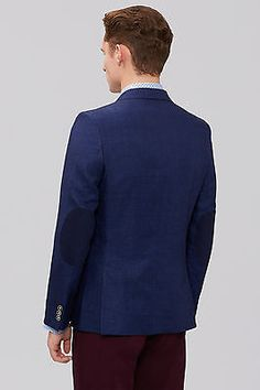 Moss London Mens Suit Jacket Slim Fit Blue Linen 2 Button Dinner Blazer Formal