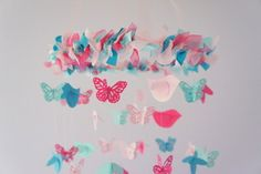 Butterfly & Bird Nursery Mobile for Baby boy or baby girl- great idea for nursery decoration or baby shower gift