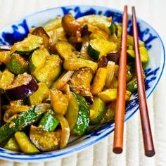 Garlic-Lover's Vegetable Stir Fry with Eggplant, Zucchini, and Yellow Squash Recipe Main Dishes, Side Dishes with zucchini, peanut oil, minced garlic, onion, salt, oyster sauce