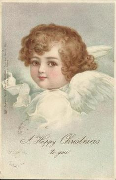 A HAPPY CHRISTMAS TO YOU   head & sloulder study of angel facing left looking front