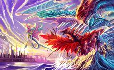 ancient_fairy_dragon black-winged_dragon black_rose_dragon city crow_hogan dragon duel_monster fudou_yuusei izayoi_aki jack_atlas jimaoxiaodi life_stream_dragon luca multiple_boys red_dragon_archfiend stardust_dragon water yu-gi-oh! Yu Gi Oh 5d's, Yo Gi Oh, Black Rose Dragon, Red Dragon, Yugioh Dragon Cards, Dark Side Of Dimensions, Everyday Life With Monsters, Galaxy Eyes, Dragon City