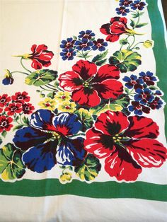 Vintage Floral Tablecloth by MonkeyGrassDesigns on Etsy, $75.00