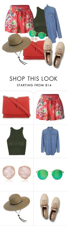 """""""Backpacking Through Spain"""" by chelsofly on Polyvore featuring Jil Sander, LE3NO, Topshop, Monica Vinader, Wildfox, San Diego Hat Co. and Keds"""