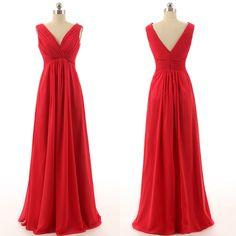 red bridesmaid dress,long bridesmaid dress,cheap bridesmaid dress,v-neck bridesmaid dress,BD1258
