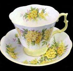 royal albert laburnum gainsborough cup with yellow handle and base, hampton saucer--beautiful!