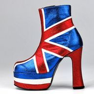 Union Jack platform boot, shellys, 1998.