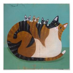 Calico Mother and Kittens Original Cat Folk Art Painting Frida Art, Cat Drawing, Illustrations, Pablo Picasso, Crazy Cats, Cat Art, Cats And Kittens, Cute Cats, Folk Art