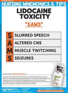 "Lidocaine Toxicity: ""SAMS"" Nursing Mnemonics and Tips"