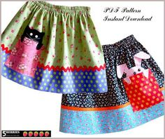 Childrens SEWING PATTERN, PIK-A-BOO SKIRT PATTERN for GIRLS + Bonus Mother-Daughter Apron Pattern Instant Digital Download, PDF PATTERN  Sizes: 12months-12years   Skirt features: Vintage-style skirt with double elastic waistband, contrasting hem and pocket with bunny rabbit or cat peeking out. Skirt also has optional ribbon or rick rack on the seam between the main skirt and contrasting hem.  Recommended Fabric (Cotton or Cotton Blend): Choose contrasting but color coordinating fabric for…