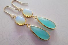 Teardrop Blue Opal Earrings. Bridal Earrings. by StarlightWeddings