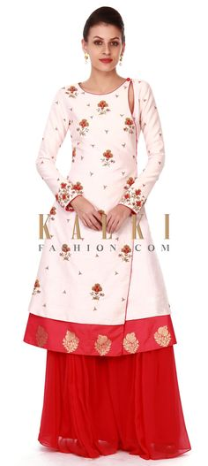 Buy this Cream angarkha suit in french knot embroidery only on Kalki