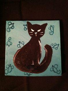 Small Cat - Acrylic/Watercolor by Lauren Tornetta