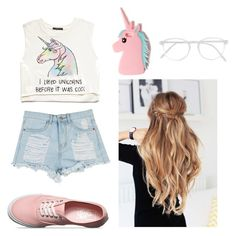 """""""Unicorn"""" by mailafaa ❤ liked on Polyvore featuring Forever 21, Vans, Missguided, RetroSuperFuture, cute, unicorn and pinkandblue"""