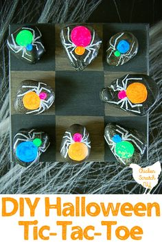 Entertain your favorite little goblins with a game of Halloween tic-tac-toe! Paint a game board on a wooden box to double as a carrying case Easy Halloween Crafts, Halloween Door Decorations, Halloween Games, Easy Diy Crafts, Cute Halloween, Vintage Halloween, Fall Crafts, Bloody Halloween, Halloween 2019