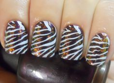 Flakie Zebra Nails
